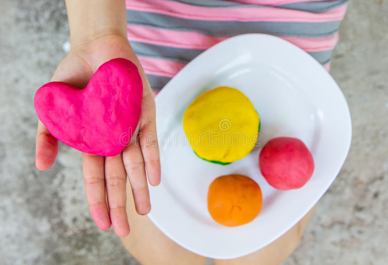 Heart ,play dough. Creating toys from play dough, Homemade toy royalty free stock images
