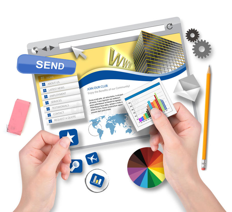 Creating Website Template with Graphic Designer stock illustration