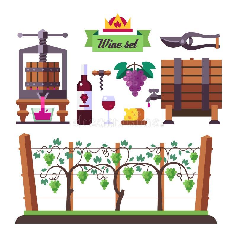 Creating a wine, winemaker tool set and vineyard. Flat vector illustration stock illustration