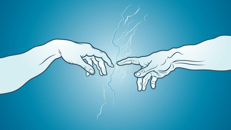 The Creation of Adam (fragment). Azure cerulean version. «Creatio Adami». The Creation of Adam, fragment. A section of Michelangelo's stock illustration