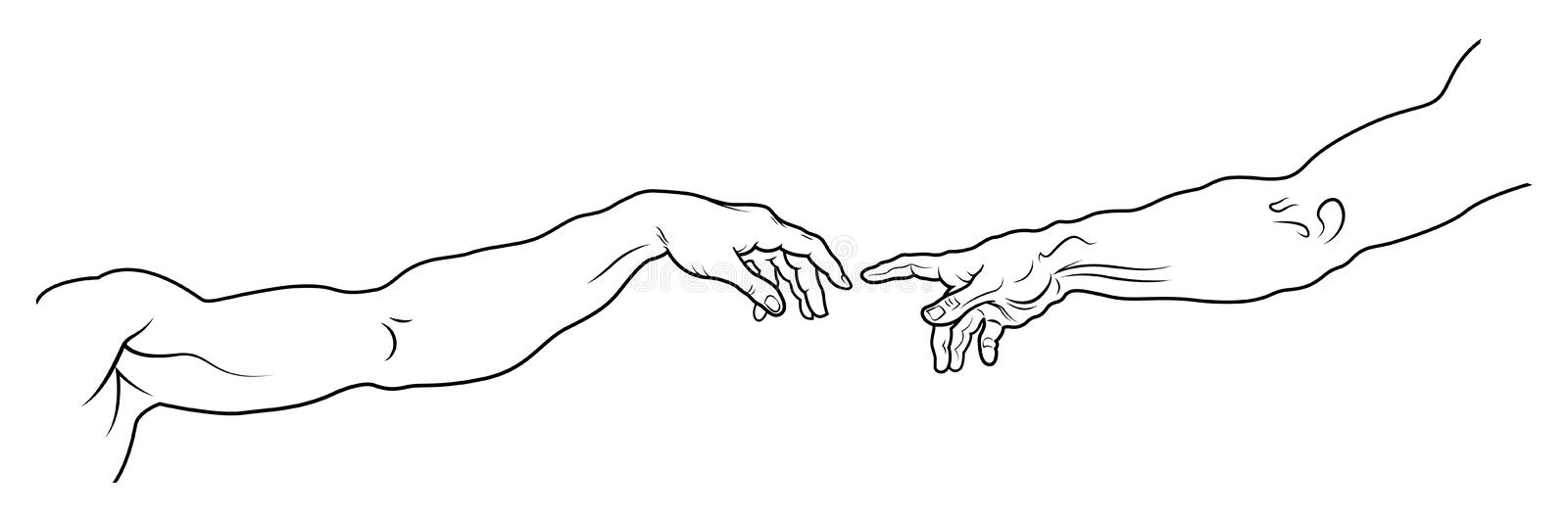 The Creation of Adam. Long Fragment (Full version). stock illustration
