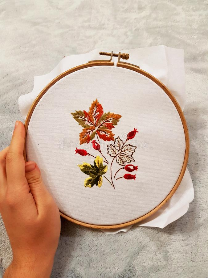 Creation. Embroidery. Hand made. Creation. Hand made. Beautiful embroidery stock image