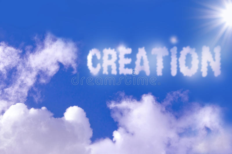 Creation. Floating above the clouds stock images