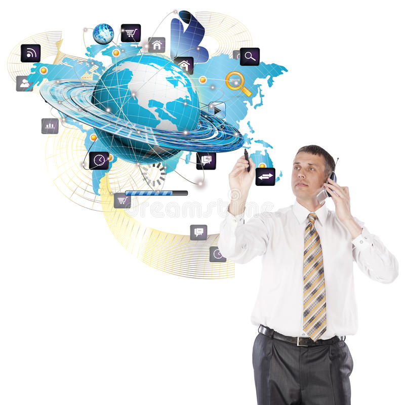 Creation new Internet technologies. Engineering designing connection tecnology.Creation digital communications technology stock image