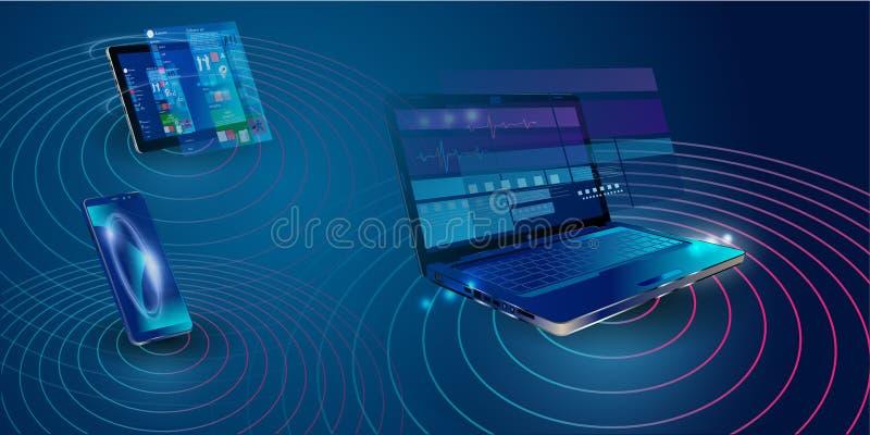 Creation responsive internet website for multiple platforms. Building mobile interface on screen of laptop, tablet, smartphone. stock illustration
