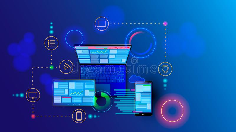 Creation responsive internet website for multiple platforms. Building mobile interface on screen of laptop, tablet. Smartphone. Layout content on display stock illustration