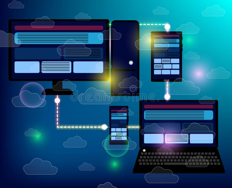 Creation responsive internet website for multiple platforms. Building mobile interface on screen of laptop, tablet, smartphone. Layout content on display royalty free illustration