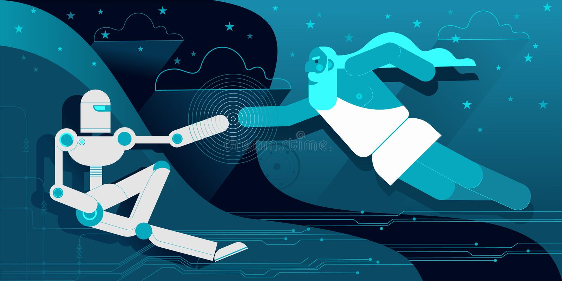 The Creation of robot Adam royalty free illustration