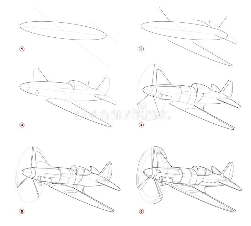 Creation step by step pencil drawing. Page shows how to learn draw sketch of imaginary Military aircraft from Second World War. stock illustration