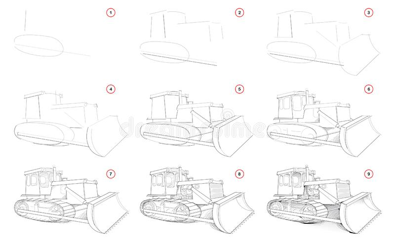 Creation step by step pencil drawing. Page shows how to learn draw sketch of powerful tractor with blade for clearing ground. vector illustration