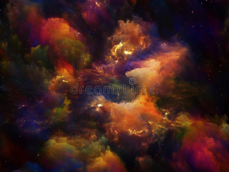 Creation. Universe Is Not Enough series. Composition of fractal elements, lights and textures to serve as a supporting backdrop for projects on fantasy, science stock image