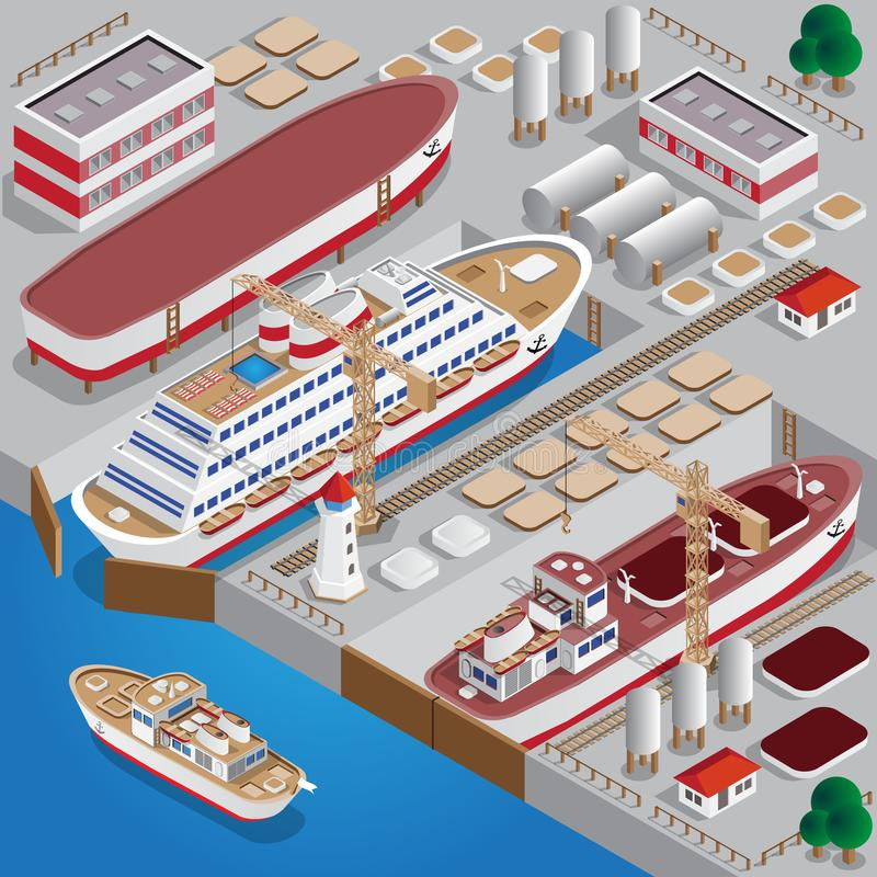 Repair of ships. royalty free illustration