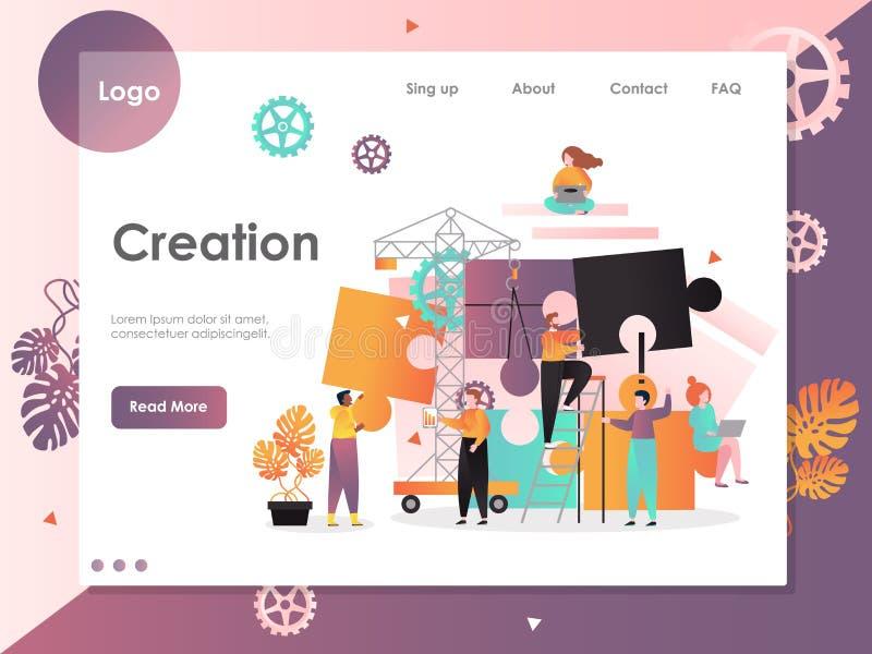 Creation vector website landing page design template vector illustration
