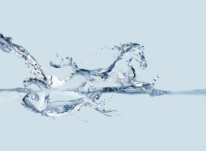 Creation from Water. A conceptual image where a water flow forms a fish underwater and a horse above water