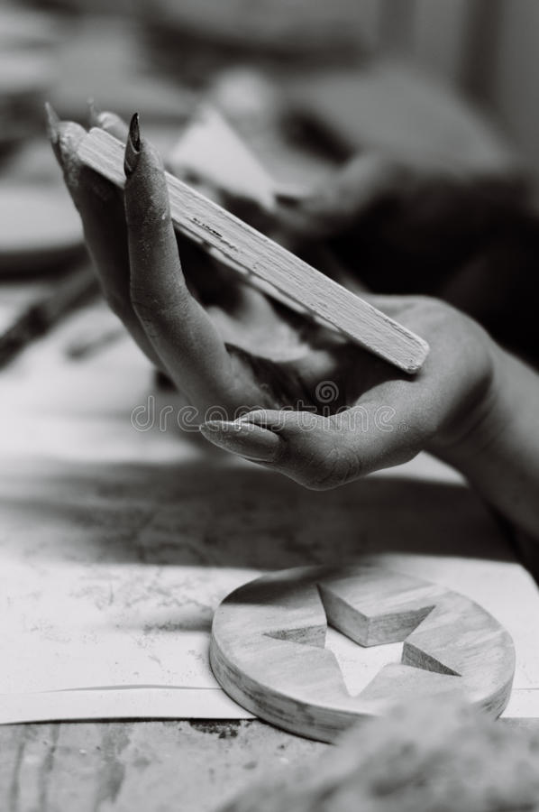 The creation of wooden toys. stock photography