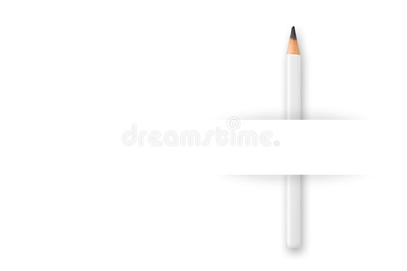 Creativ writing, education or business resume or marketing template, white pencil behind piece of paper on white background royalty free stock photo