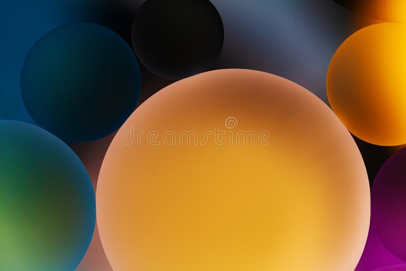 Creative abstract background with transparent drops in water, macro. Molecule and atom biotechnology design. Planets in space. And universe art abstraction stock images