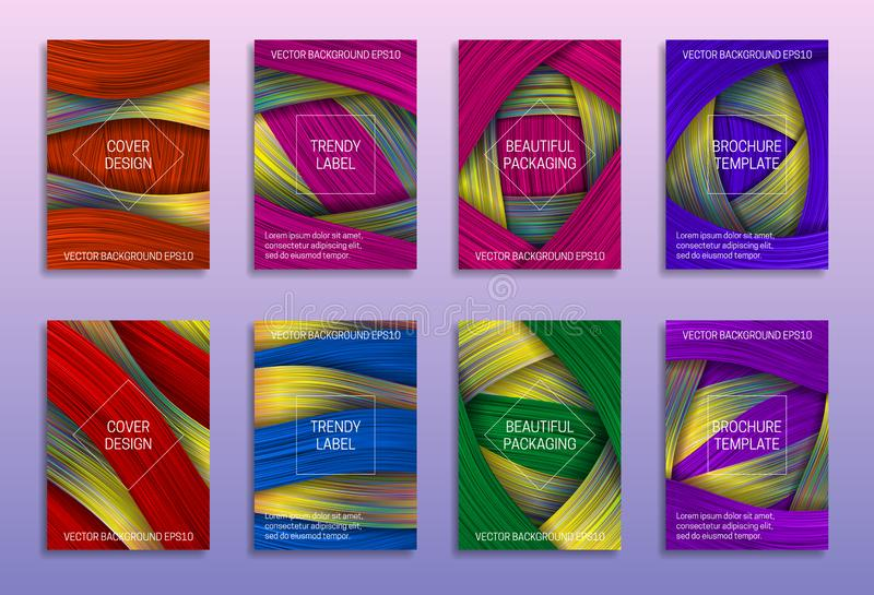 Creative abstract backgrounds for cover design. Trendy labels for beautiful packaging. Colored holographic brochure templates.  vector illustration