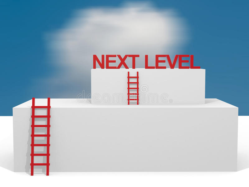 Creative abstract business progress, development, success, next. Leval, leadership and competition concept: group of blue cubes with ladders royalty free illustration
