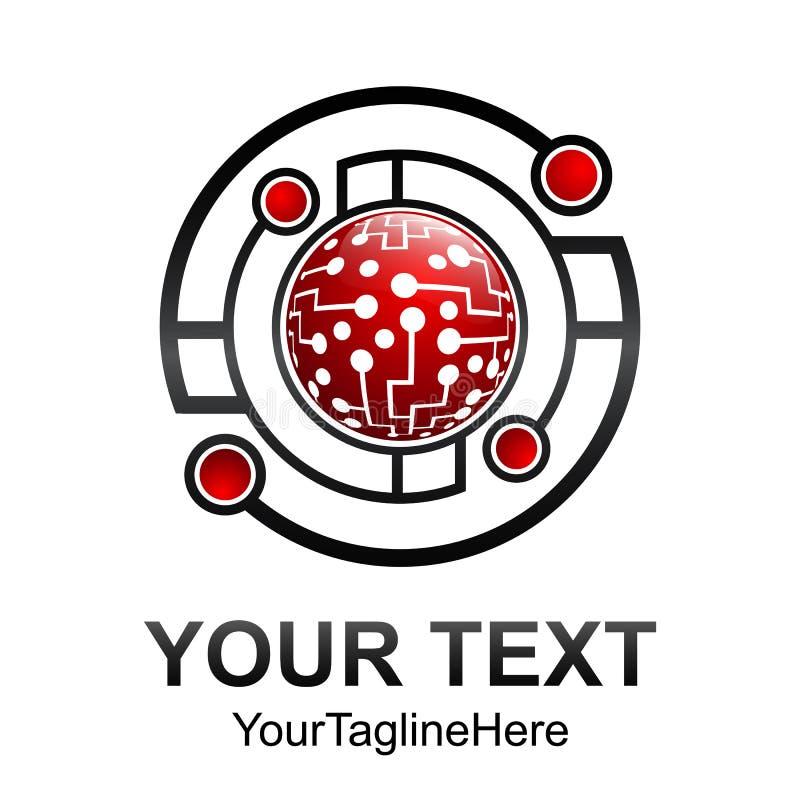 Creative abstract circle geomtric technology vector logo design vector illustration