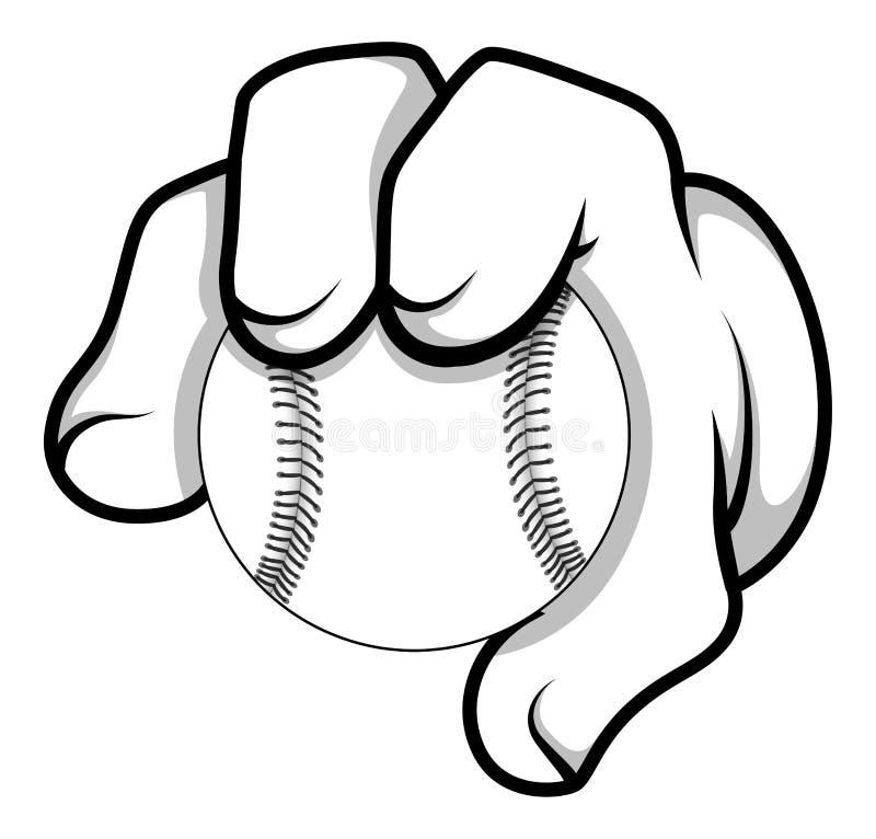 Cartoon Hand - Baseball - Vector Illustration stock illustration