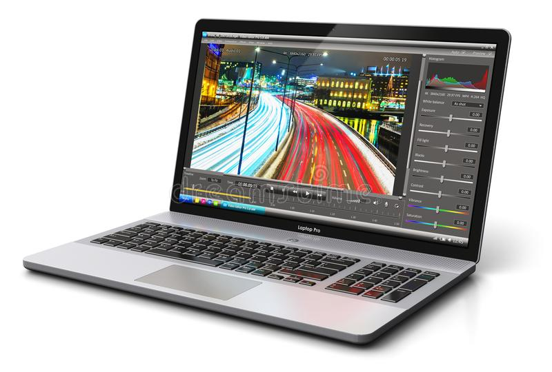 Laptop or notebook with video editing software royalty free illustration