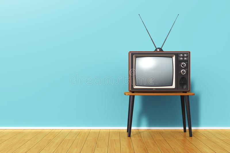 Old retro TV against blue vintage wall in the room. Creative abstract 3D render illustration of the old retro TV television set with antenna on table against royalty free illustration