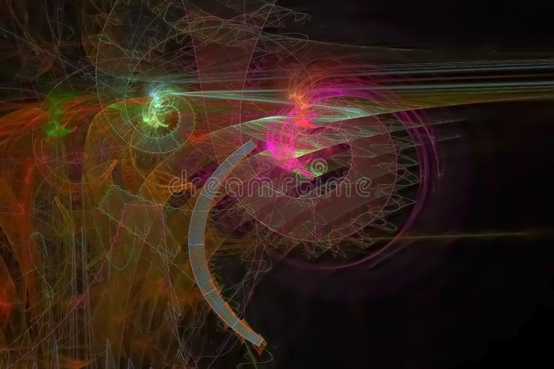 Abstract  power surreal energy imagination vibrant flame sparkle digital fractal fantasy design background chaos vector illustration