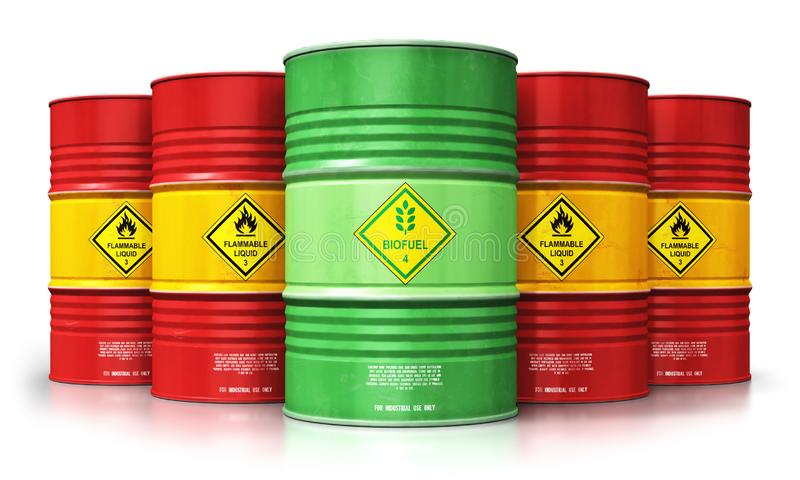 Green biofuel drum in front of red oil or gas barrels isolated o royalty free illustration