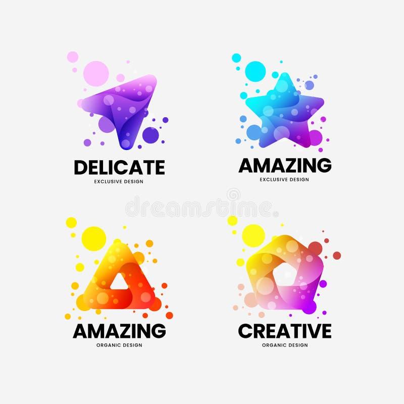 Abstract exclusive isolated vector logo sign. Logotype emblem illustration set. Digital badge design layout bundle. stock illustration