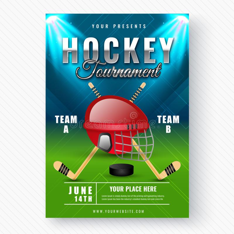 Blue Abstract Hockey Background With Black Puck Stock