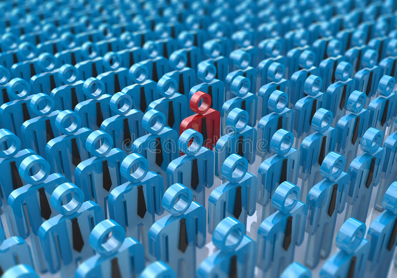 Creative abstract individuality, uniqueness and leadership business concept: single red 3D people figure in crowded group of blue. Figures with selective focus stock photo