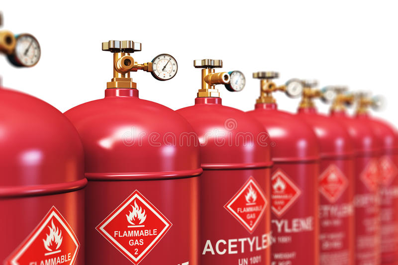 Row of liquefied acetylene industrial gas containers vector illustration