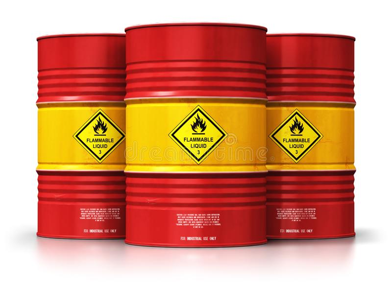 Group of red oil drums isolated on white background royalty free illustration