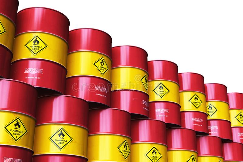Group of red stacked oil drums isolated on white background. Creative abstract oil and gas industry manufacturing and trading business concept: 3D render stock illustration