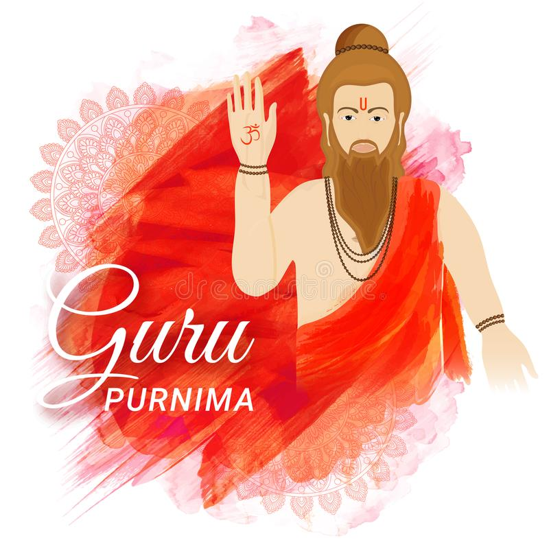Creative abstract pattern background decorated with mandala design and saint character for Guru Purnima festival. stock illustration
