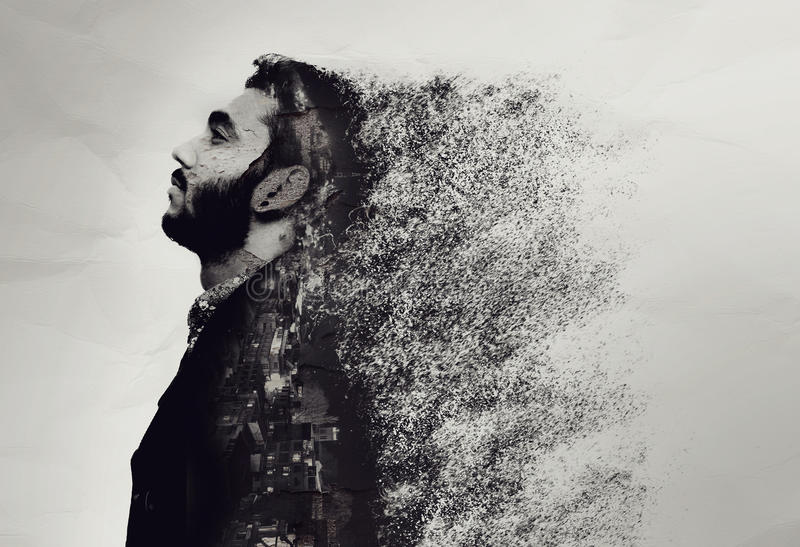 Creative abstract portrait of a guy shattered into pieces. Isolated royalty free stock image