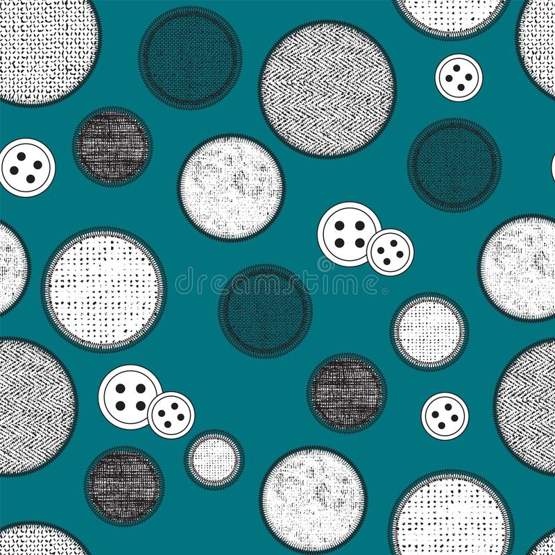 Creative abstract sewing seamless pattern background design with buttons and fabric textures in circles. Vector. Illustration royalty free illustration