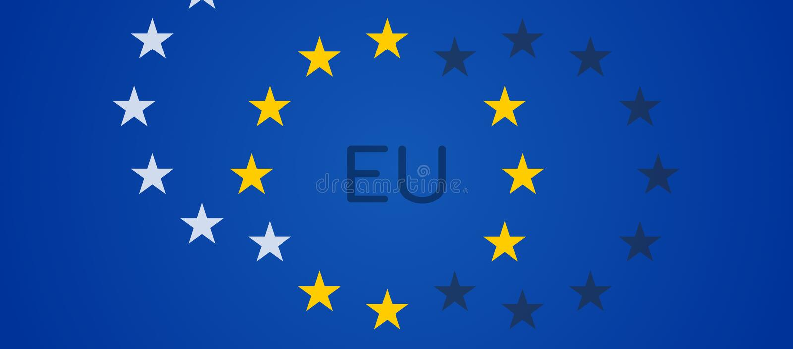 Creative abstract stars of the flag of Europe background with yellow white and dark stars 3d-illustration royalty free illustration