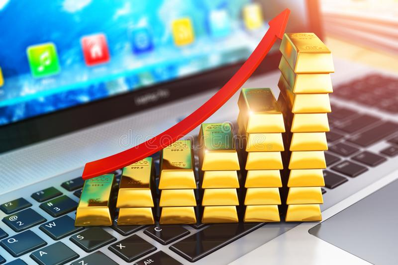 Bar graph from gold ingots on laptop or notebook. Creative abstract stock exchange market trading, online banking, making money and internet business success royalty free stock image