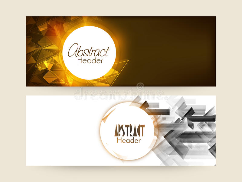 Creative abstract web header or banner set. Creative shiny website header or banner set with abstract design and arrows royalty free illustration