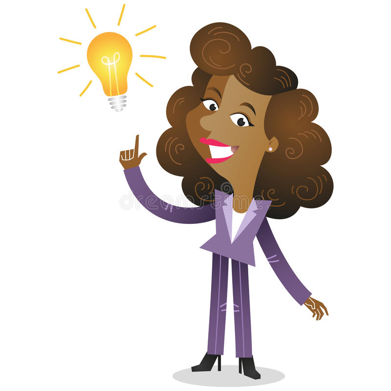 Creative african business woman having an idea. Vector illustration of a creative young african cartoon business woman pointing at light bulb as a symbol of stock illustration