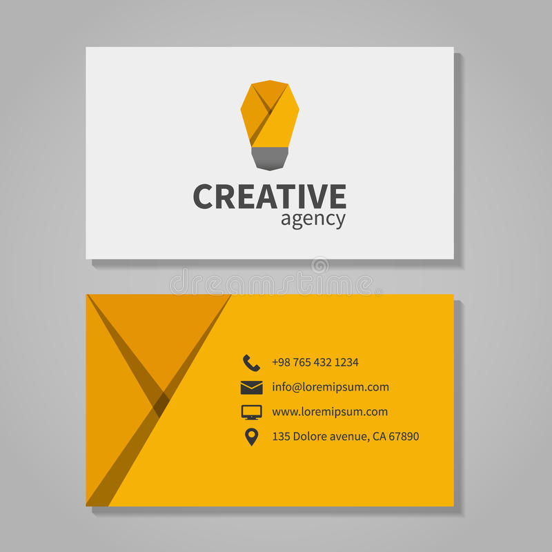 Creative agensy business card template with light. Bulb. Element corporation, visit and phone number, address. Vector illustration vector illustration