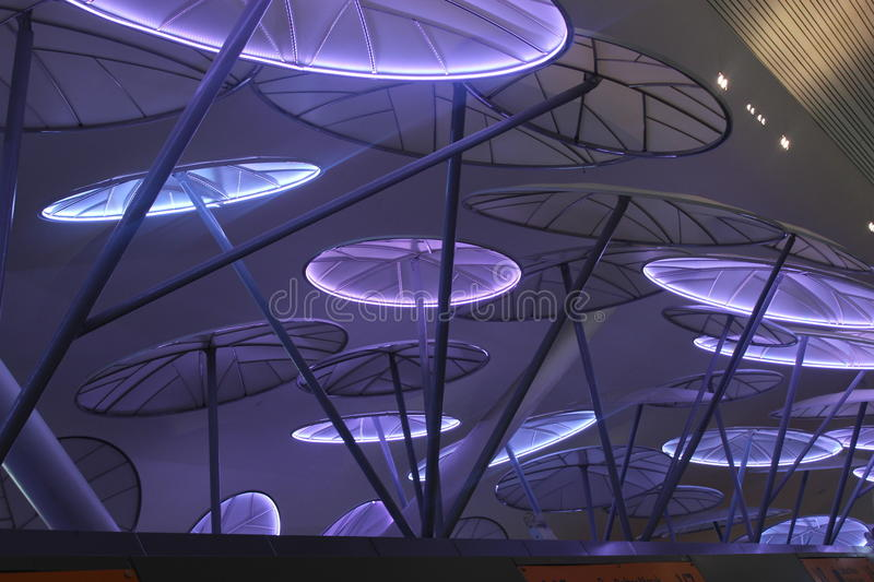 Creative airport ceiling stock image