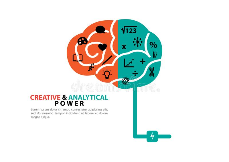 Creative and analytical power stock illustration