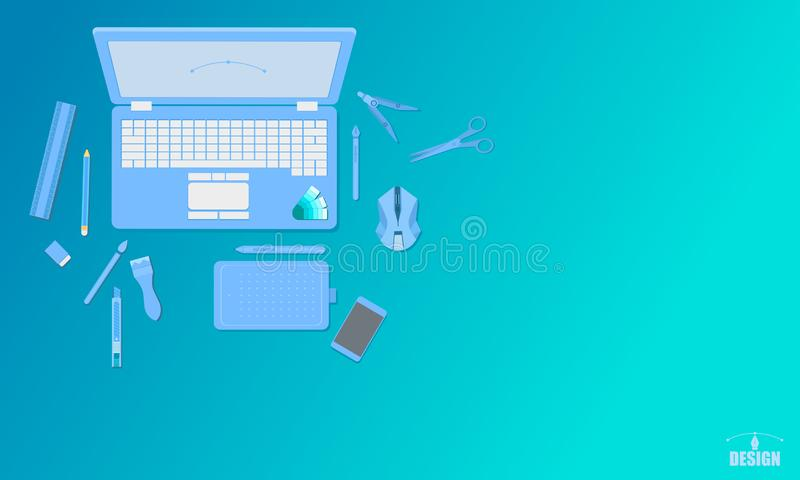 Creative art design studio top view concept blue tone vector illustration eps10 stock illustration