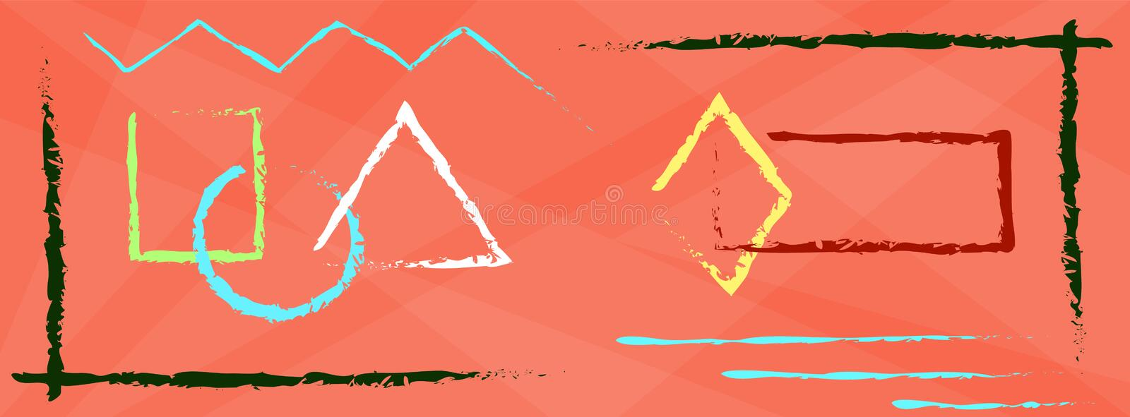 Creative art header with different shapes and textures. Collage. Vector stock illustration