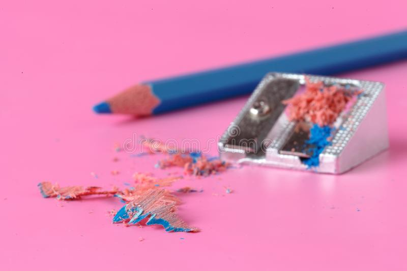 Creative art idea concept with pens on pink stock photography