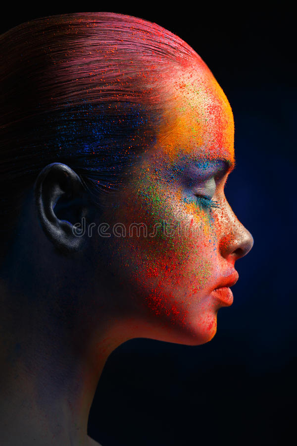 Creative art of make up, fashion model closeup portrait royalty free stock photos