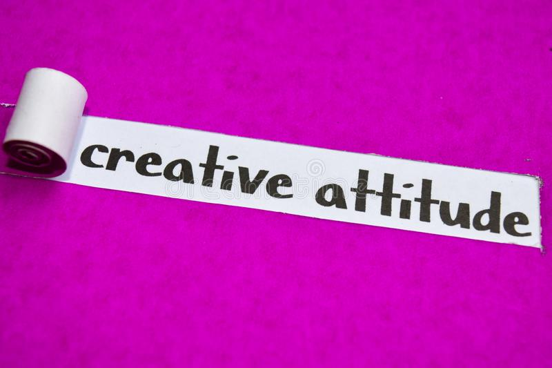 Creative Attitude text, Inspiration, Motivation and business concept on purple torn paper stock images